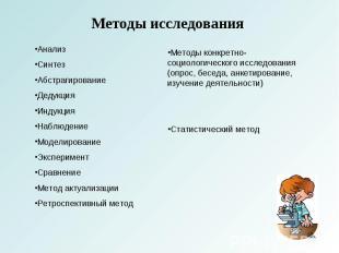 Методы исследования АнализСинтезАбстрагированиеДедукцияИндукцияНаблюдениеМоделир