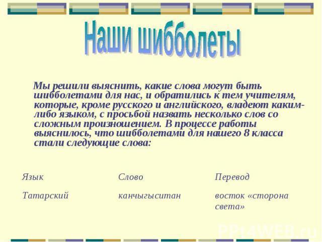 Наши шибболеты Мы решили выяснить, какие слова могут быть шибболетами для нас, и обратились к тем учителям, которые, кроме русского и английского, владеют каким-либо языком, с просьбой назвать несколько слов со сложным произношением. В процессе рабо…