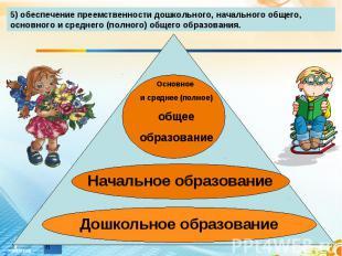 5) обеспечение преемственности дошкольного, начального общего, основного и средн