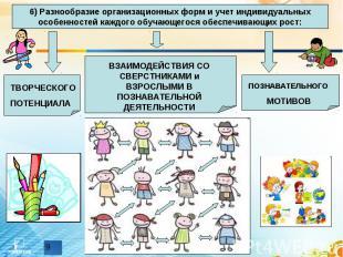 6) Разнообразие организационных форм и учет индивидуальных особенностей каждого