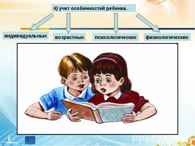 4) учет особенностей ребенка.