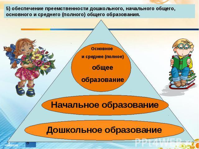 5) обеспечение преемственности дошкольного, начального общего, основного и среднего (полного) общего образования.