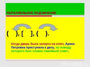 ( ), [ ], ( ).Когда дверь была заперта на ключ, Арина Петровна приступила к делу