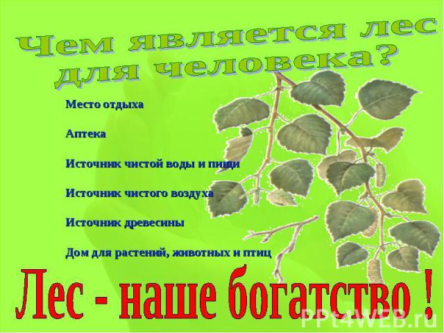 Чем является лес для человека?Место отдыхаАптекаИсточник чистой воды и пищиИсточник чистого воздухаИсточник древесиныДом для растений, животных и птицЛес - наше богатство !