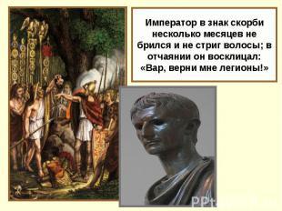 Император в знак скорби несколько месяцев не брился и не стриг волосы; в отчаяни