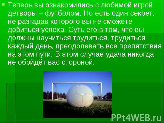 Теперь вы ознакомились с любимой игрой детворы – футболом. Но есть один секрет, не разгадав которого вы не сможете добиться успеха. Суть его в том, что вы должны научиться трудиться, трудиться каждый день, преодолевать все препятствия на этом пути. …