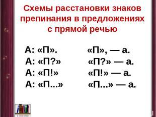 Схемы расстановки знаков препинания в предложениях с прямой речью А: «П». А: «П?