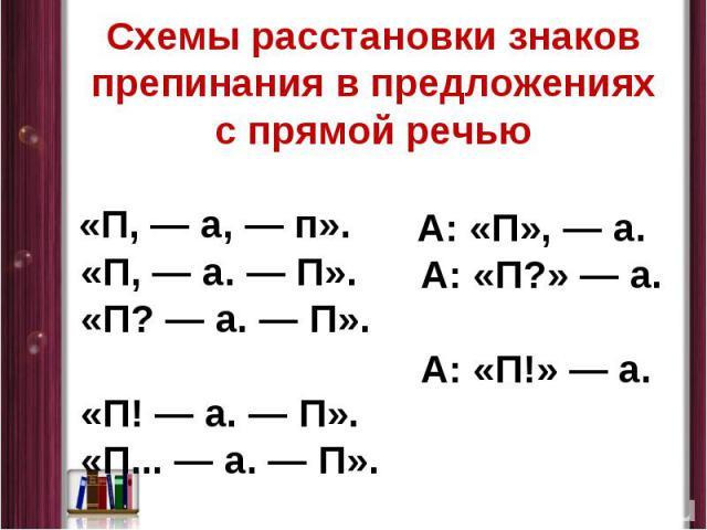 Схемы расстановки знаков препинания в предложениях с прямой речью «П,— а,— п». «П,— а.— П». «П?— а.— П». «П!— а.— П». «П...— а.— П». А: «П»,— а. А: «П?»— а. А: «П!»— а.