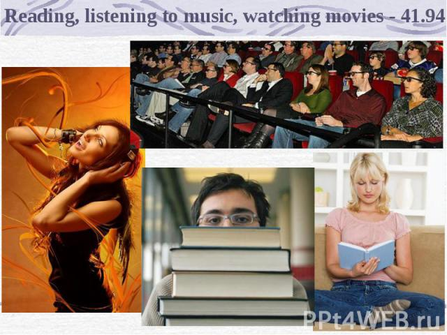 Reading, listening to music, watching movies - 41.94%