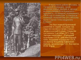 В восточном районе Москвы, за Таганской площадью, среди многочисленных фабрик и