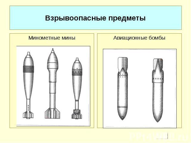 Взрывоопасные предметы Минометные миныАвиационные бомбы