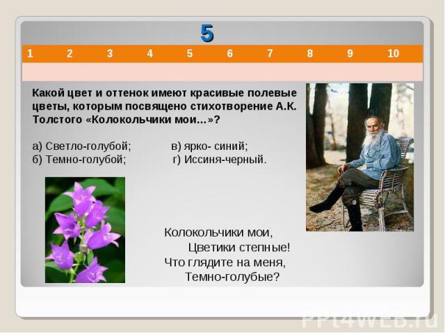 Какой цвет и оттенок имеют красивые полевые цветы, которым посвящено стихотворение А.К. Толстого «Колокольчики мои…»?а) Светло-голубой; в) ярко- синий;б) Темно-голубой; г) Иссиня-черный. Колокольчики мои, Цветики степные!Что глядите на меня,…