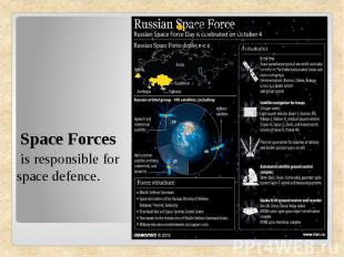 Space Forces is responsible for space defence.
