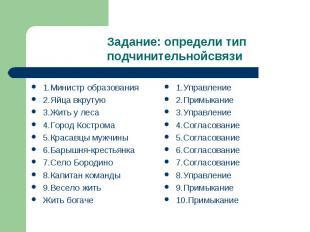 Задание: определи тип подчинительнойсвязи 1.Министр образования2.Яйца вкрутую3.Ж
