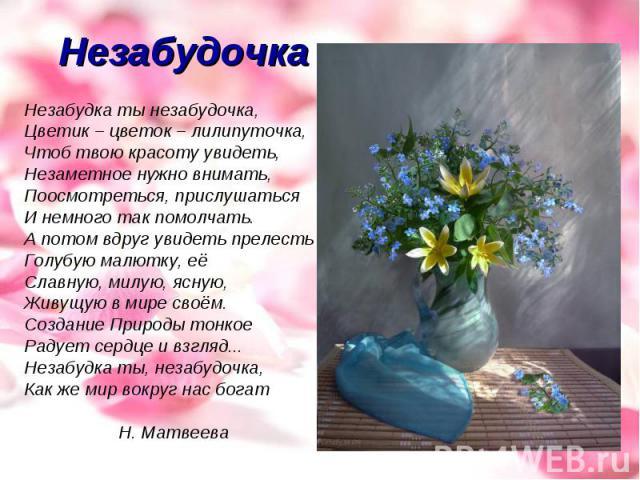 Незабудочка Незабудка ты незабудочка,Цветик – цветок – лилипуточка,Чтоб твою красоту увидеть,Нeзаметное нужно внимать, Поосмотреться, прислушатьсяИ немного так помолчать.А потом вдруг увидеть прелестьГолубую малютку, еёСлавную, милую, ясную,Живущую …