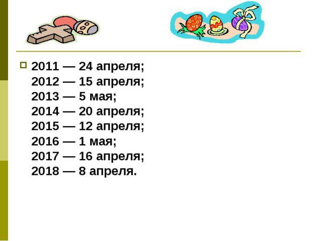 2011 — 24 апреля;2012 — 15 апреля;2013 — 5 мая;2014 — 20 апреля;2015 — 12 апреля;2016 — 1 мая;2017 — 16 апреля;2018 — 8 апреля.