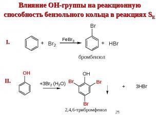 Влияние ОН-группы на реакционную способность бензольного кольца в реакциях SE
