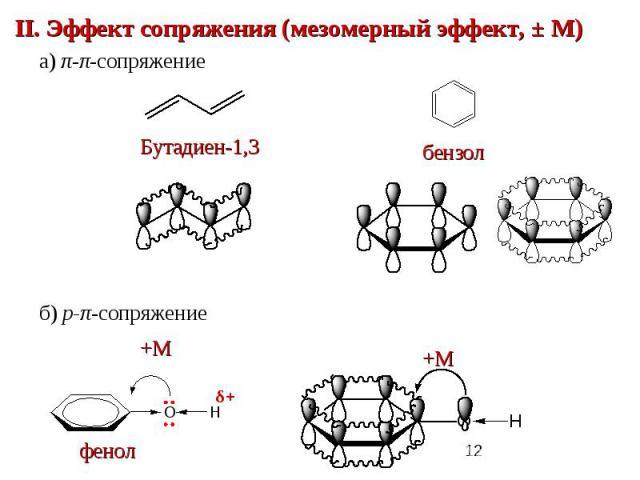 II. Эффект сопряжения (мезомерный эффект, ± М)