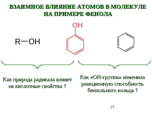 ВЗАИМНОЕ ВЛИЯНИЕ АТОМОВ В МОЛЕКУЛЕНА ПРИМЕРЕ ФЕНОЛАКак природа радикала влияет на кислотные свойства ?Как «ОН-группа» изменила реакционную способность бензольного кольца ?