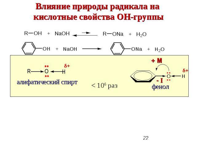 Влияние природы радикала на кислотные свойства ОН-группы