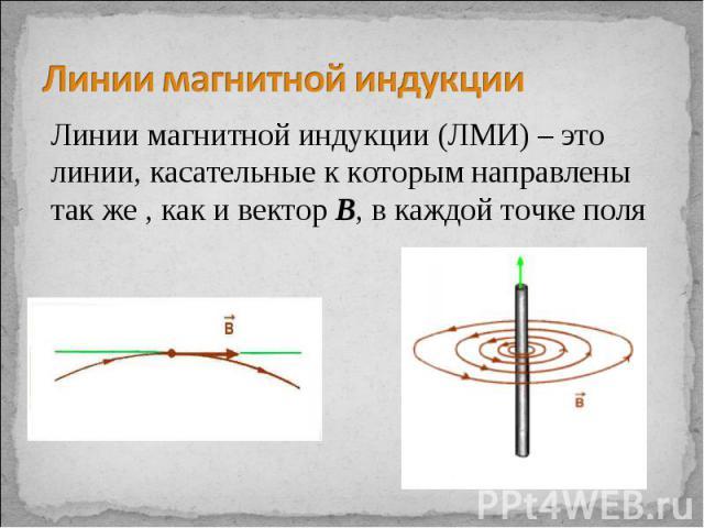 Линии магнитной индукции Линии магнитной индукции (ЛМИ) – это линии, касательные к которым направлены так же , как и вектор В, в каждой точке поля