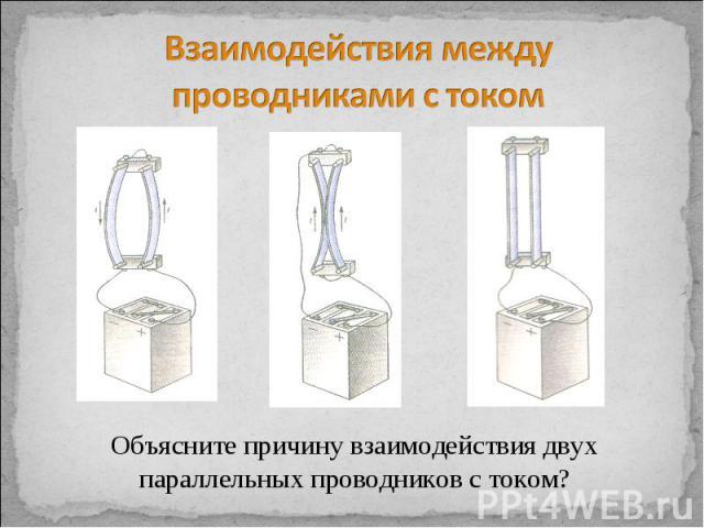 Взаимодействия между проводниками с током Объясните причину взаимодействия двух параллельных проводников с током?