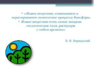 «Живое вещество, охватывает и перестраивает химические процессы биосферы. Живое
