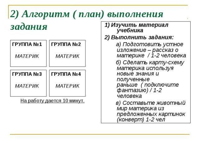 2) Алгоритм ( план) выполнения задания 1) Изучить материал учебника 2) Выполнить задания: а) Подготовить устное изложение – рассказ о материке / 1-2 человека б) Сделать карту-схему материка используя новые знания и полученные раньше ( подключите фан…