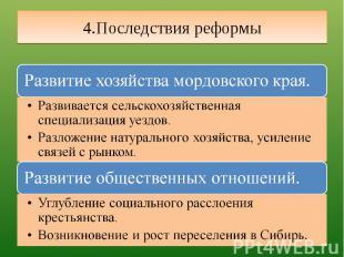 4.Последствия реформы Развитие хозяйства мордовского края.Развивается сельскохоз