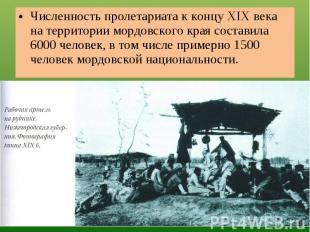 Численность пролетариата к концу XIX века на территории мордовского края состави