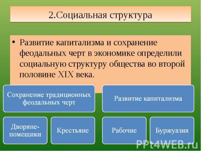 2.Социальная структура Развитие капитализма и сохранение феодальных черт в экономике определили социальную структуру общества во второй половине XIX века.