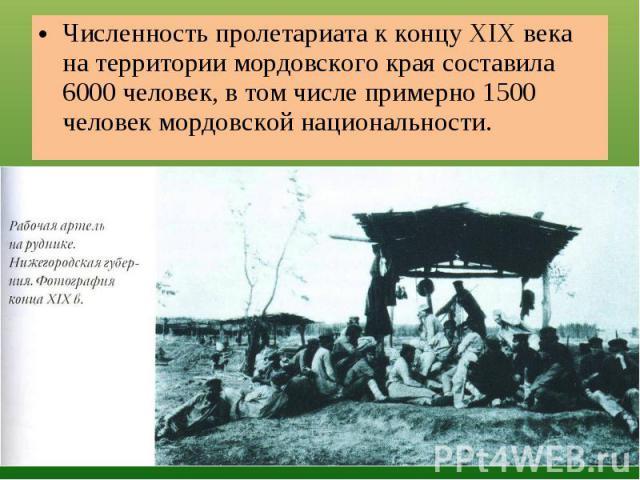 Численность пролетариата к концу XIX века на территории мордовского края составила 6000 человек, в том числе примерно 1500 человек мордовской национальности.