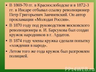 В 1869-70 гг. в Краснослободске и в 1872-3 гг. в Инсаре отбывал ссылку революцио