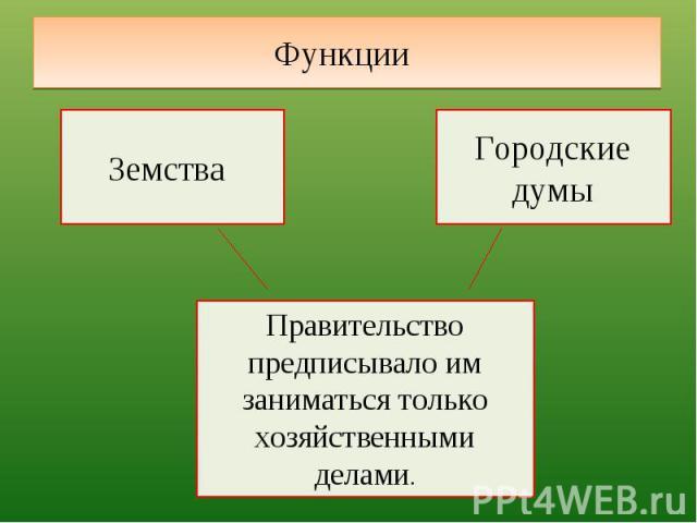 Функции Земства Городские думыПравительство предписывало им заниматься только хозяйственными делами.