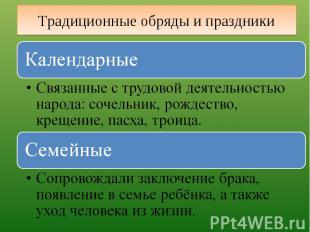 Традиционные обряды и праздники Календарные Связанные с трудовой деятельностью н