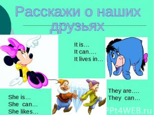 Расскажи о нашихдрузьяхIt is…It can….It lives in…She is…She can…She likes…They a