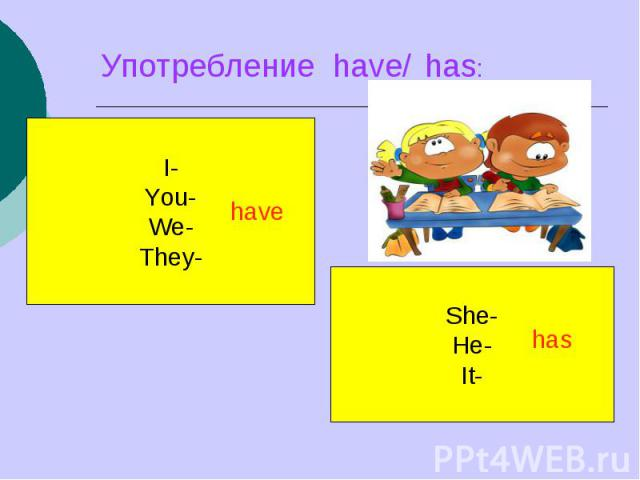 Употребление have/ has: I-You-We-They-She-He-It-