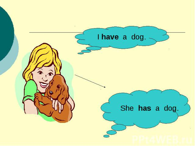 I have a dog.She has a dog.