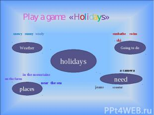 Play a game «Holidays» snowy sunny windy sunbathe swim ski a camera in the mount