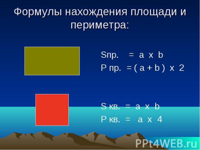 Формулы нахождения площади и периметра: Sпр. = a х b P пр. = ( a + b ) х 2 S кв. = a х b P кв. = a х 4