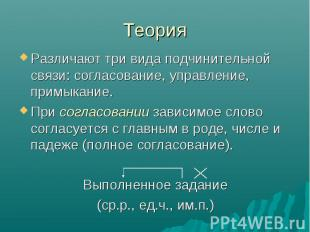 Теория Различают три вида подчинительной связи: согласование, управление, примык