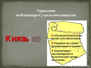 Управление во Владимиро-Суздальском княжестве Князь ( сильная власть)