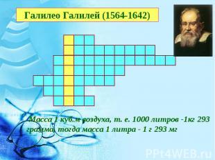 Галилео Галилей (1564-1642) Масса 1 куб.м воздуха, т. е. 1000 литров -1кг 293 гр