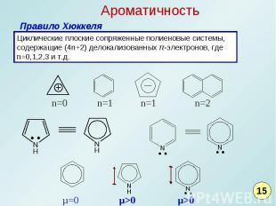 Ароматичность Правило ХюккеляЦиклические плоские сопряженные полиеновые системы,