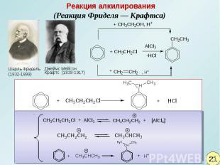 Реакция алкилирования(Реакция Фриделя— Крафтса) Шарль Фридель (1832-1899)Джеймс