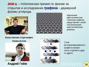 2010 г. – Нобелевская премия по физике за открытие и исследование графена - двум