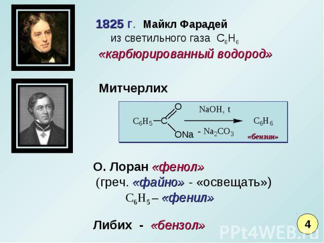 1825 г. Майкл Фарадей из светильного газа С6Н6 «карбюрированный водород» О. Лоран «фенол» (греч. «файно» - «освещать») С6Н5 – «фенил»
