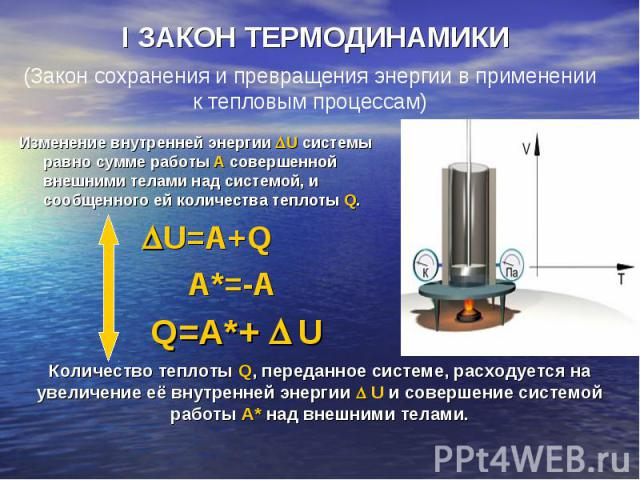 Изменение внутренней энергии U системы равно сумме работы A совершенной внешними телами над системой, и сообщенного ей количества теплоты Q. Изменение внутренней энергии U системы равно сумме работы A совершенной внешними телами над системой, и сооб…