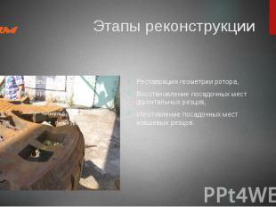 Этапы реконструкции Реставрация геометрии ротора, Восстановление посадочных мест