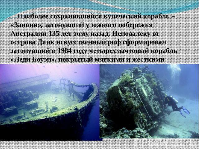 Наиболее сохранившийся купеческий корабль – «Занони», затонувший у южного побережья Австралии 135 лет тому назад. Неподалеку от острова Данк искусственный риф сформировал затонувший в 1984 году четырехмачтовый корабль «Леди Боуэн», покрытый мягкими …